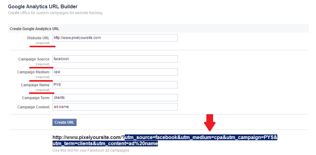 How to use Google Analytics URL builder from Facebook