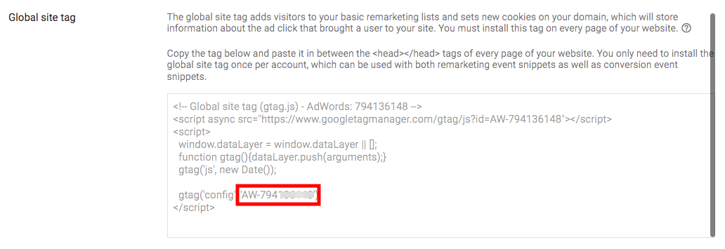 Add your Google Ads Tag ID - PixelYourSite